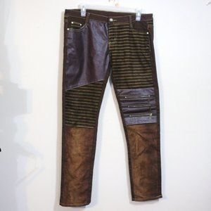 funky brown faux leather suede jean pants